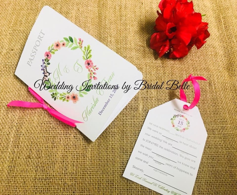 Passport Invitations Wedding Invitations By Bridal Belle